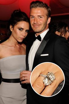Victoria Beckham and David Beckham Soccer star David Beckham sealed the deal with wife Victoria Beckham with this massive diamond-encrusted engagement ring.