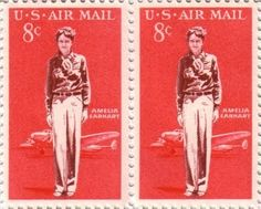 Amelia Earhart: 1963 airmail stamp honoring Earhart with her Lockheed Electra plane