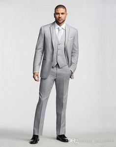 Two Buttons Light Grey Notch Lapel Groom Tuxedos Groomsmen Mens Wedding Tuxedos Clothing Prom Suits Jacket+Pants+Vest+Tie Plus Size Men Formal Suits Men Suits For Sale From Julia4444, $78.4| Dhgate.Com