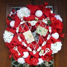 Red Burlap VINTAGE VALENTINE'S DAY Wreath with by decoglitz