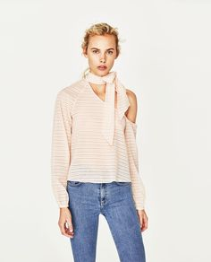 Image 1 of ASYMMETRIC TOP WITH NECK BOW from Zara