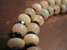 Ethiopian opal & black spinel necklace on SALE now by las81101, $225.00