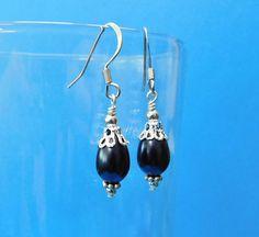 Unique Earrings for Girlfriend Gift, Small Black and Silver Glass Teardrop Earrings, Handmade Earrings Jewelry Gift