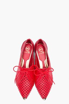 Alexander McQueen mesh flats with gold tips
