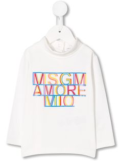 Shop Msgm Babies' High Collar Long Sleeve Top In White from stores. White stretch cotton top from MSGM Kids featuring a high standing collar, long sleeves, a back button fastening and a front centre logo stamp. Msgm Kids, Logo Stamp, High Collar, Baby Design, Long Sleeve Tops, Kids Fashion, Women Wear, Graphic Sweatshirt, Babies