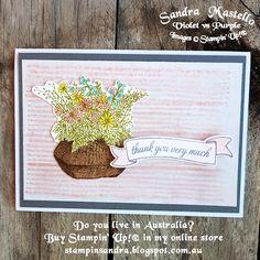 Basket for you - Sandra Mastello, Violet vs Purple, Stampin' Up Demonstrator Australia Thankful, Grateful, Flower Cards, Stampin Up Cards, Your Cards, Flower Baskets, Paper Crafts, Australia, Purple