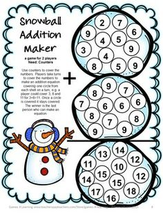 Snowman Math Game - build addition equations from the snowballs - Snowman Math Games Addition and Subtraction from Games 4 Learning is a collection of 7 Math Board Games with a snowman theme. $ Math Board Games, Math Boards, Math Games, Math Activities, Fun Games, Winter Activities, First Grade Addition, Math Addition, Addition And Subtraction