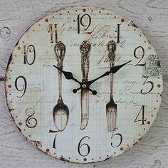 Shabby-Rustico-Vintage-Chic-De-Madera-Crema-De-Reloj-De-Pared-cena-Cuchillo-Tenedor-Cuchara