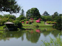 Korakuen garden in Okayama, Japan with Okayama castle in background