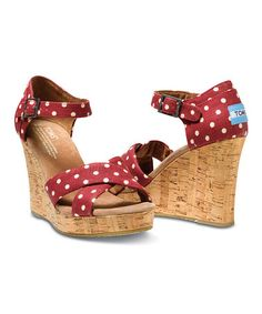 These are so darn CUTE! TOM'S Are on Sale!!  2-19-14 on #zulily!  Red Polka Dot Linen Wedge Sandal #zulilyfinds