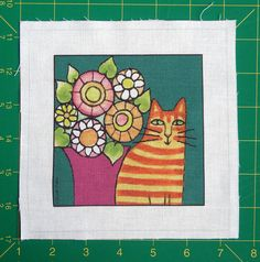 Cat Quilt Block Fabric Craft Panel for DIY by SusanFayePetProjects, $3.50