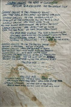 """""""London calling Yeah I was there too. Well some of it was true"""" London Calling by Joe Strummer & Mick Jones, The Clash Neil Young, The Clash Lyrics, Rock Music, My Music, Music Stuff, Music Life, London Calling The Clash, Get Down On It, History Of Punk"""