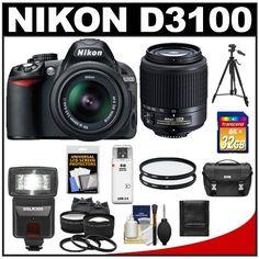 Nikon Digital SLR Camera with (bestseller) Best Digital Slr Camera, Digital Lenses, Reflex Camera, Nikon D3100, Zoom Lens, Tripod, Card Case, Binoculars