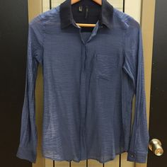 MNG Suit Sheer Button Down Two toned blue button down sheer shirt. With navy collar. MNG Tops Button Down Shirts