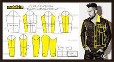 ModelistA: JAQUETA CAMPEÃ DE VOTOS FACEBOOK - MANGA DUAS FOLHAS Sewing Men, Sewing Clothes, Diy Clothes, Clothing Patterns, Sewing Patterns, Boxer Pants, New Shirt Design, Modelista, Fashion Design Drawings