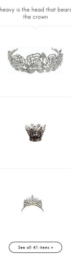 """""""heavy is the head that bears the crown"""" by helena-handbasket ❤ liked on Polyvore featuring accessories, hair accessories, jewelry, crowns, tiaras, bridal hair accessories, leaf garland, glitter garland, flower garland and bride flower crown"""