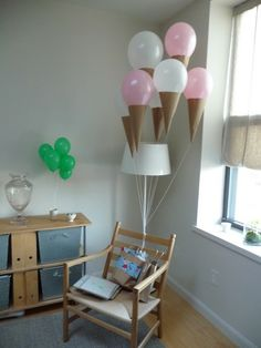 Another brilliant and easy idea from Martha Stewart ~ All you need is some brown kraft paper folded into a cone shape and attached to the bottom of your balloon. Use a small amount of spray glue on the top of the balloon and add real sprinkles for an extra cute effect!
