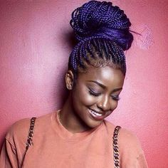 STYLIST FEATURE| Obsessed with @justineskye's purple #boxbraids styled by #LosAngelesStylist @DrKariWill Bun life #VoiceOfHair ======================= Visit VoiceOfHair.com for inspiration and hairstyling tips =======================