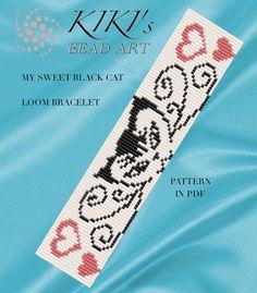 Bead loom pattern - My sweet black cat LOOM bracelet pattern in PDF - instant download