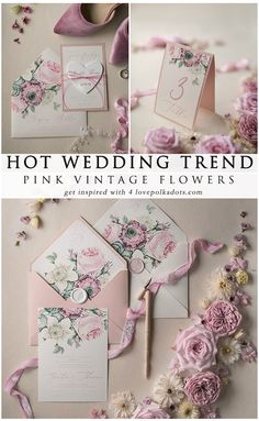 Hot wedding trend! Beautiful Pink Vintage flowers perfect for your wedding. Romantic handmade wedding stationery, invitation design with modern calligraphy. Whole design is touched with elegance and love. Envelope with flower liners, delicate ribbon made from 100% pure silk. Perfect, elegant and sophisticated invitation for your perfect wedding #pink #vintage #wedding #elegant