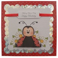 Free P Handmade Ladybird Birthday Card £3.00  by Helle Belles Cards