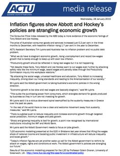 Inflation figures show that Tony Abbott and Joe Hockey's policies are strangling economic growth. Consumer Price Index, Tony Abbott, Common People, Goods And Services, Betrayal, Hockey, Politics, Icons, Political Books