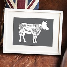 Butcher's meat prints for the kitchen Beef Cuts Chart, Kitchen Prints, Kitchen Decor, Kitchen Ideas, Fine Art Paper, Wedding Stationery, A4, Deli, Natural History