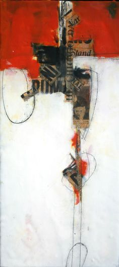 "Brad Hook, ""Ruthie"", Encaustic Collage, from the ""Old News Series"""
