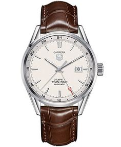 TAG Heuer Men's Swiss Automatic Carrera Calibre 7 Twin-Time Brown Leather Strap Watch 41mm WAR2011.FC6291 - Men's Watches - Jewelry & Watche...