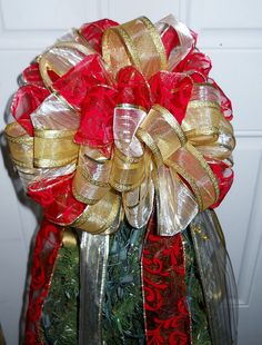 Red, Off White & Gold Tree Topper Bow on Etsy, $42.44 CAD