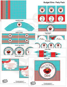 Elmo Theme Budget Party Package  Digital File by MetroEvents
