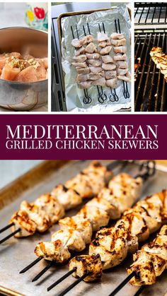 These Grilled Chicken Skewers are perfect for weeknight grilling!  They get a Mediterranean flare from a quick marinade in olive oil, lemon juice and garlic.  Then they are quickly grilled for dinner in under 30 minutes!  They are great in pitas, on top of a salad (especially nice on top of Greek salad) or serve with a dipping sauce if you'd like! Baked Chicken Tenders, Crispy Baked Chicken, Keto Chicken, Grilled Chicken Skewers, Grilled Fruit, Healthy Orange Chicken, Chicken Fajita Casserole, Quick Pickled Onions, Best Chicken Recipes