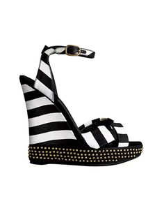 ZsaZsa Bellagio: Black and White Beautiful Black And White Heels, Black White Fashion, Black White Stripes, Studded Heels, White Sandals, Fashion Plates, Fashion Boots, Me Too Shoes, Shoe Boots