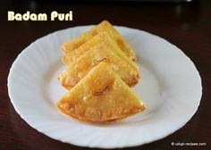Crispy Badam puri drenched in sugar syrup is beautifully textured, wonderfully flavored sweet delicacy. Indian Beef Recipes, Indian Dessert Recipes, Indian Sweets, Indian Snacks, Vegetarian Recipes, Snack Recipes, Cooking Recipes, Flour Recipes, Puri Recipes
