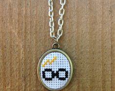 cross stitch Harry Potter necklace