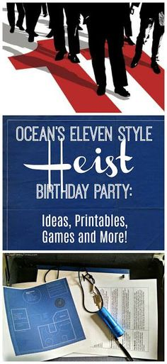 A unique birthday party theme great for tweens, teens and adults alike: an Ocean's Eleven style heist! A slick, cool heist party with activities and role-playing that will be fun for all your guests. This post has you covered from start to finish with free printables, creative ideas and a birthday cake with a secret! This is a party like our Secret Agent spy party - only more mature for your older kid. So much fun!