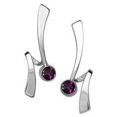 Silver Wrap Around Gemstone Earrings