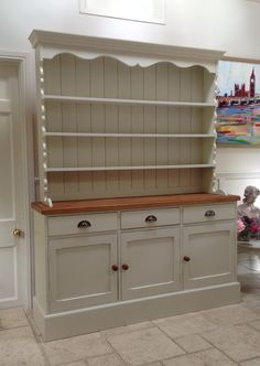 Hand Painted Dresser Cream Solid Pine Welsh Dresser Sideboard Kitchen Unit | eBay