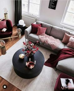 Related posts: Deeply Living Room Furniture Classic 9 Great Ideas of Living Room Apartment Decor Ideas to Copy on Yourself Bohemian Interior Design, [. Living Room Sofa, Home Living Room, Apartment Living, Living Room Designs, Red Living Room Decor, Cozy Living, Burgundy Living Room, Grey Living Room With Color, Red Wall Decor