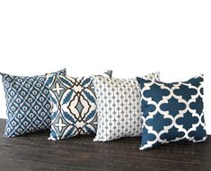 "Living Room: Throw pillow covers 16"" x 16"" Set Of Four blue natural chocolate brown cushion cover pillow shams on Etsy, $68.00"