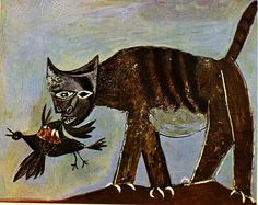 Cat catching a bird - Pablo Picasso