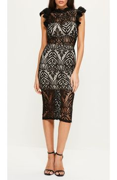 Main Image - Missguided High Neck Lace Midi Dress