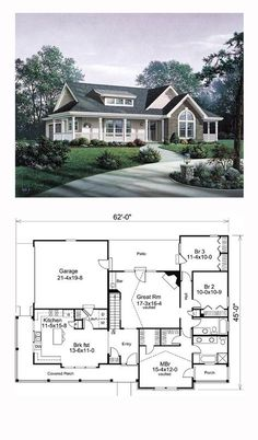 Ranch House Plan 87811   Total Living Area: 1591 sq. ft., 3 bedrooms and 2 bathrooms. #ranchplan