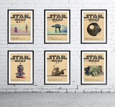 STAR WARS Set of 6 Episode 1 2 3 4 5 6 Movie Posters * Minimal Movie Posters Wall Art Print A2 A3 A4 Sizes
