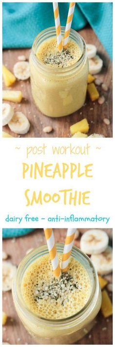 Post Workout Pineapple Smoothie - vegan dairy free gluten free oil free sugar free turmeric hemp seeds recovery whole 30 anti inflammatory breakfast snack drink Smoothies Vegan, Best Smoothie Recipes, Good Smoothies, Smoothie Drinks, Drink Recipes, Breakfast Snacks, Vegan Breakfast Recipes, Dairy Free Recipes, Vegan Recipes