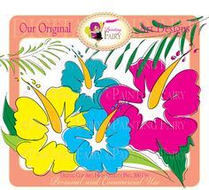 Cliparts Digital Hawaiian Hibiscus Tropical Flowers Embellishments Doodle Scrapbooking Hand Draw DIY Personal & Commercial Use pf00032-1