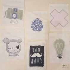 Verschillende vlaggetjes voor een vlaggenlijn, gemaakt met onze #TextilePaint en #TextilePaintBlocker door @studioisalot