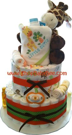Baby Bee Boutique - Squeaky Clean Jungle Diaper Cake, $90.00 (http://www.shopbabybee.com/jungle-diaper-cake-2/)