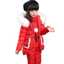 2016 Winter Kids Girl Clothing Set Warm Hooded Vest + Tops +Pants Children Clothes Suit 3pcs Toddler Girls Christmas Outfits(China (Mainland))