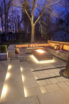 ways to improve your Techo-Bloc outdoor living area . - 7 ways to improve your Techo-Bloc outdoor living area ways to improve your Techo-Bloc outdoor living area . - 7 ways to improve your Techo-Bloc outdoor living area - Clean, ge. Backyard Seating, Backyard Patio Designs, Fire Pit Backyard, Backyard Landscaping, Landscaping Ideas, Garden Fire Pit, Modern Backyard Design, Cozy Backyard, Veg Garden